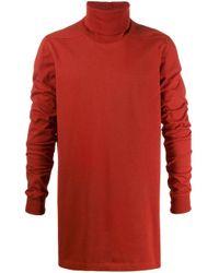 メンズ Rick Owens タートルネック セーター Red