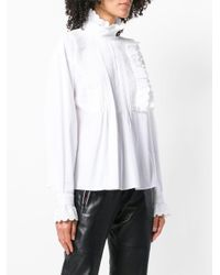 McQ Alexander McQueen White Pleated Front Ruffle Trim Blouse