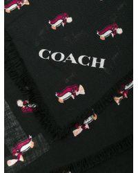 COACH Black Penguin Print Scarf