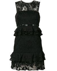 Three Floor Black Brooklyn Ruffle-trimmed Mini Dress