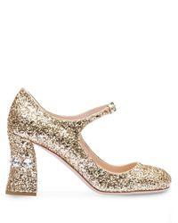 Miu Miu Metallic Mary Janes mit Glitter