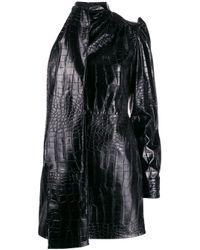 MSGM Black One Sleeve Crocodile Effect Dress