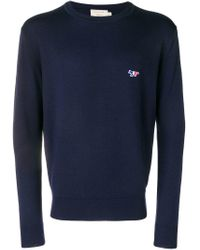 Maison Kitsuné Blue Knit Sweater for men