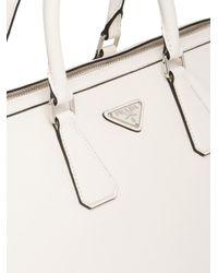 1656dd03df95 Lyst - Prada Printed Saffiano Leather Travel Bag in White for Men