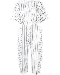 Palmer//Harding White Gestreifter Jumpsuit