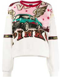 Pinko White Long Sleeve Printed Sweater