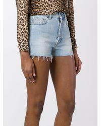 Saint Laurent Blue Studded Denim Shorts