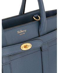 Borsa tote Bayswater mini con zip di Mulberry in Blue