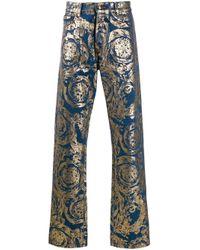 Versace Jeans Blue Baroque Print Jeans for men