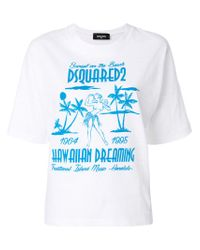 DSquared² - White Hawaiian Dreaming Print T-shirt - Lyst