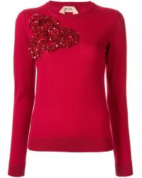 N°21 Red Sequinned Ruffle Sweater