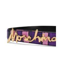 Cinturón con placa del logo Moschino de color Pink