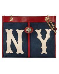 Borsa tote con toppa NY YankeesTM di Gucci in Blue