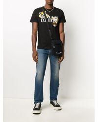 メンズ Versace Jeans エンボスロゴ メッセンジャーバッグ Black