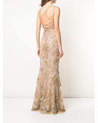 Robe longue à fleurs Marchesa notte en coloris Metallic