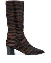Alberto Gozzi Brown Zebra-pattern Ankle Boots