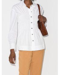 Ganni シャーリング ポプリンシャツ White