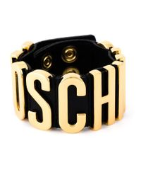 Moschino - Black Logo Plaque Cuff - Lyst