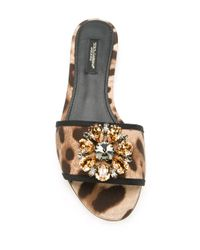 Dolce & Gabbana Multicolor Embellished Flat Sandals