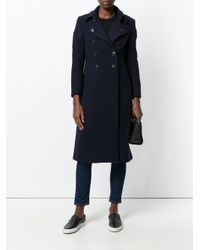 Dondup - Blue Buttoned Tailored Coat - Lyst