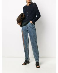 Y's Yohji Yamamoto Blue Crinkle Long-sleeve Jumper