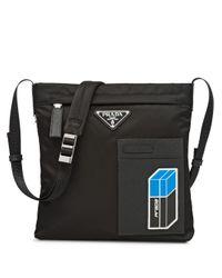 Prada Black Logo Plaque Messenger Bag for men