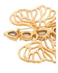 Oscar de la Renta - Metallic Coral Branch Crystal Brooch - Lyst