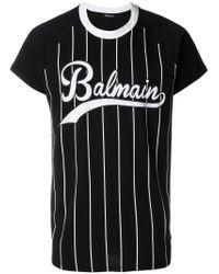 Camiseta a rayas con estampado Balmain de hombre de color Black