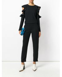 P.A.R.O.S.H. Black Ruffled Jumpsuit