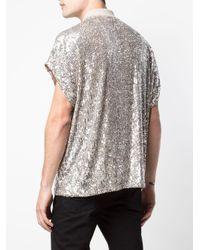 メンズ Saint Laurent スパンコール ポロシャツ Multicolor