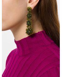Simone Rocha Green Tiered Crystal Drop Earrings