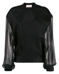Alexandre Vauthier Black Sheer Sleeve Sweater