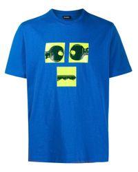 T-shirt con stampa di DIESEL in Blue da Uomo