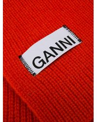 Ganni ロゴ スカーフ Red
