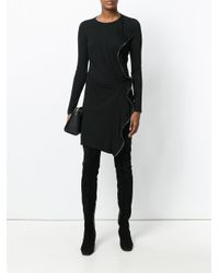 Plein Sud - Black Zip Embellished Sweater Dress - Lyst