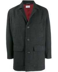 Brunello Cucinelli Gray Check Midi Coat for men