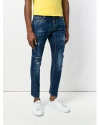 DSquared² Blue Cropped Paint Splatter Jeans for men