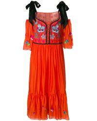 Temperley London Orange Cold Shoulder Embroidered Dress