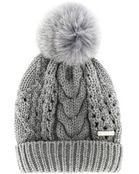 Woolrich ポンポン ケーブルニット帽 Gray