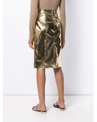 N°21 ハイウエスト ペンシルスカート Metallic