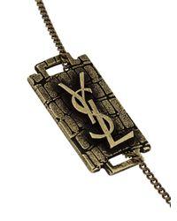 Saint Laurent - Metallic Plate Bracelet for Men - Lyst