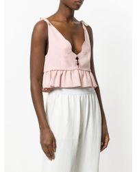 Vivetta Pink Frill Trim V-neck Crop Top