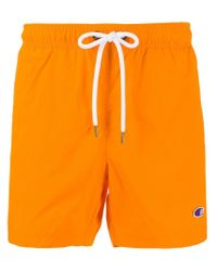 Champion Orange Logo Stripe Swimshorts for men
