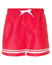 Gcds Red Drawstring Swim Shorts for men