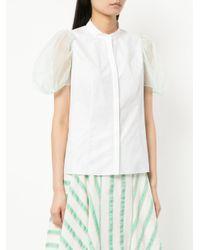 Delpozo - White Puff Sleeves Shirt - Lyst