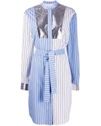 MSGM ストライプ パッチワーク シャツドレス Blue