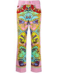 Брюки С Принтом Baroque Versace Jeans, цвет: Pink