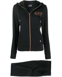 EA7 ロゴ ドローストリング トラックパンツ Black