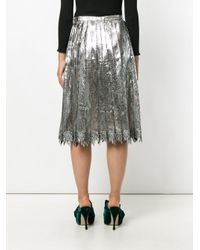 Marco De Vincenzo - Gray Pleated Lace Midi Skirt - Lyst