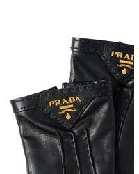 Guanti foderati di Prada in Black